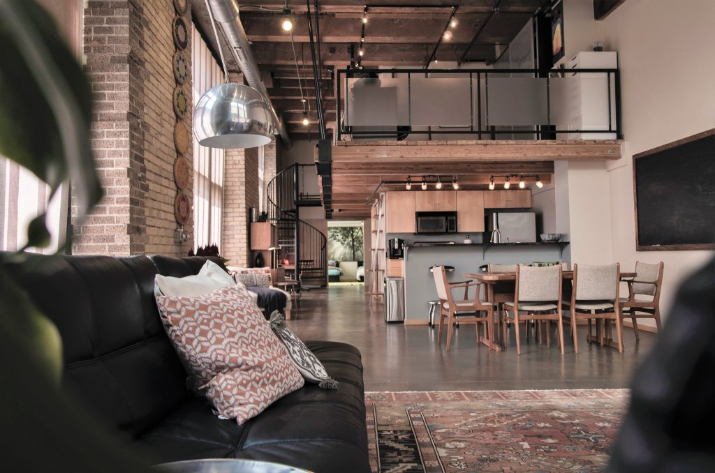 hard loft with brick walls and open space second floor