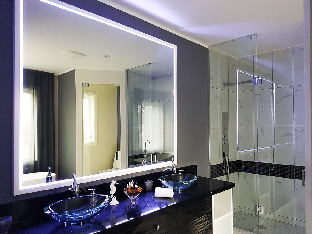 Backlit Double  Vanity in Custom Condo Bathroom
