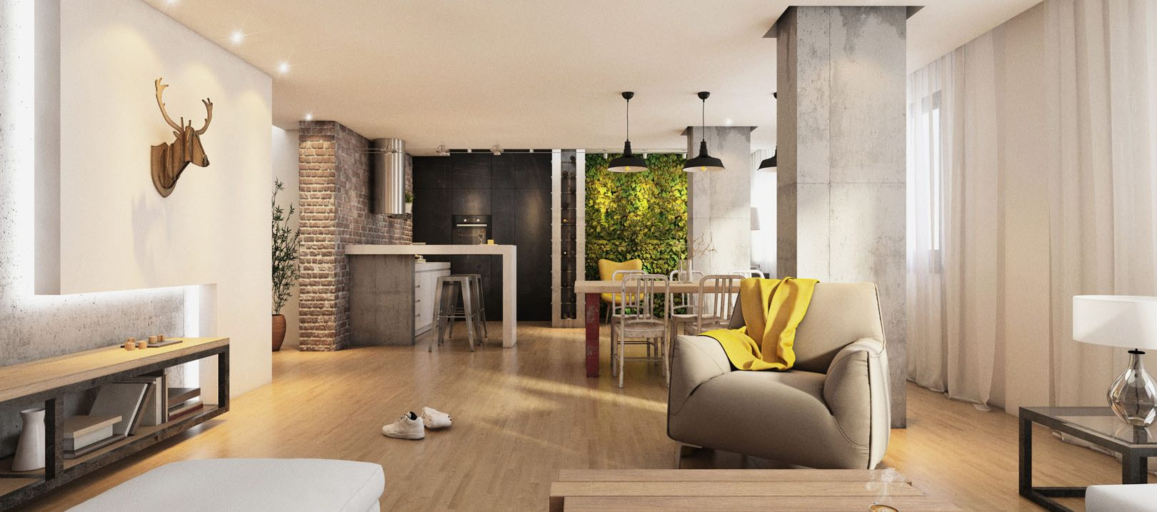 Modern hipster living room interior with wooden floor, armchair, open space with light, decoration, brick wall. Kitchen in the back, and green wall.