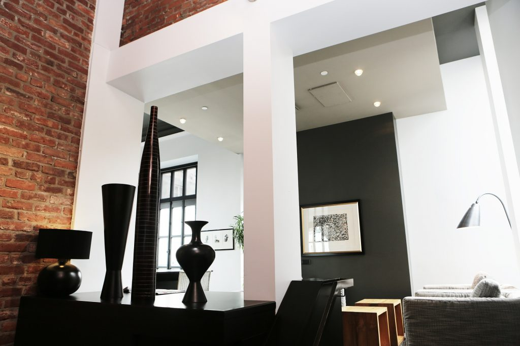 renovated loft with a modern interior
