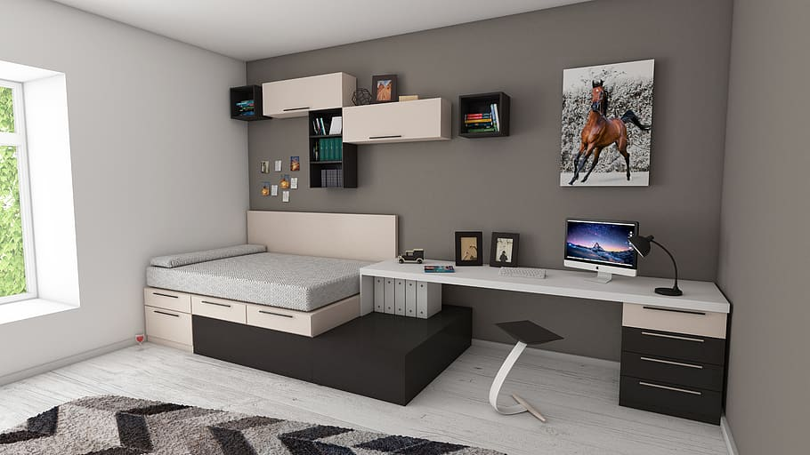 luxury bedroom with home office - condo renovations mississauga