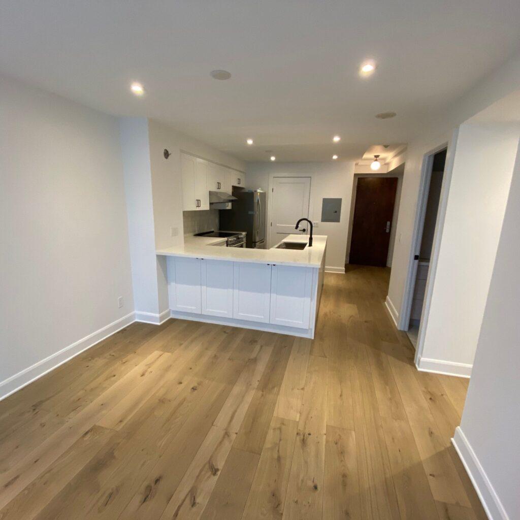 modern living room and kitchen condo renovations toronto