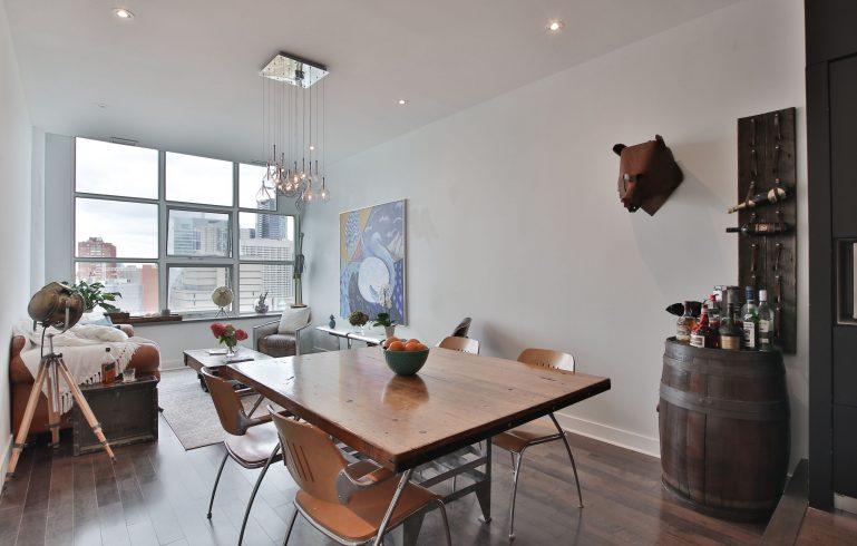 condo dining room with baseboard trim - condo upgrade ideas