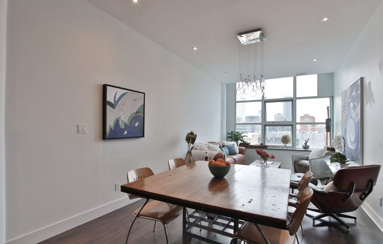 open space dining room with family room in amazing condo - condominium renovation mississauga